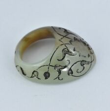 Mughal style carved jade archer thumb ring
