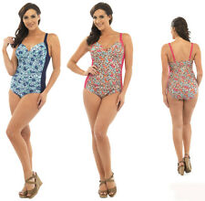 Ladies Leopard Floral print  Padded Swimming costume &  tummy control 10-22