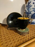 Carlton Ware~ Demitasse Cup & Saucer~ Black & Gold~ Made in England
