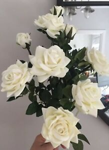 Artificial Soft Touch Flowers Cream Roses X 3 Long  Stem Luxury Quality 9 Heads