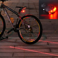 Flashing Cycling Bicycle Bike Tail 5 LED +2 Laser Lamp Rear Light Safety Warning