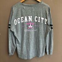 Ocean City Maryland Gray Oversized Long Sleeve Tee Shirt Medium Turtle Pink