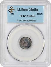 1830 H10c PCGS MS64+ ex: D.L. Hansen - Colorful Toning - Early Half Dimes