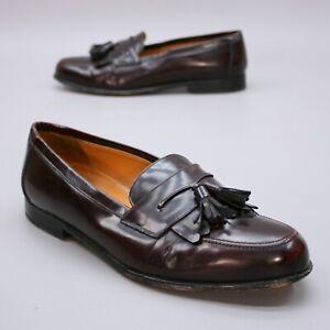 Mezlan Men's 9.5 W Santander Burgundy Leather Kiltie Tassle Slip-on Kilt Loafers