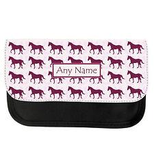 PERSONALISED HORSE & HORSESHOE GIRLS BOYS PENCIL CASE/MAKE UP BAG BIRTHDAY XMAS