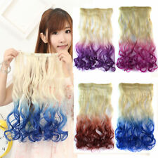 Colorful Ombre Color Long curly Wavy Clip in Hair Extensions Piece 3/4 full head