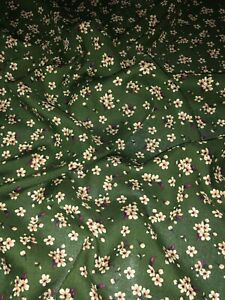 """3 Meter Olive Green Small Flower Print Soft Poly Viscose Fabric 58""""Wide Dress"""