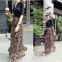 Retro Women Chiffon Pleated Leopard Long Maxi Dress Summer Beach Skirt Fashion
