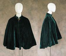 Victorian Dark Green Velvet Half Cape Cloak Capelet Civil War Dickens Cosplay