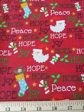 CHRISTMAS PEACE HOPE JOY  fabric By the half Yard 44/45""