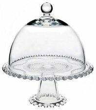 "Glass Cake Plate Cupcake Stand Cheese w/ Dome Cover & Pedestal Footed 10"" Round"