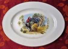 Vintage Large Thanksgiving Turkey Platter Embassy China USA Gold Trimmed
