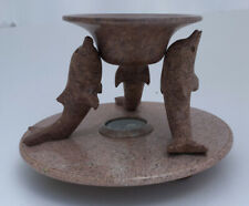 Hand Carved Stone 3 Dolphin Tart/ Oil Burner By Marex Fragrance Creations