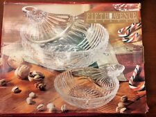 "Fifth Avenue Crystal - ""Christmas Ornament"" - Dish Bowl Set of 2 New Box NIB"