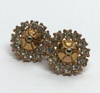 Vintage Earrings Gold Tone Rhinestone Flower Screw Back