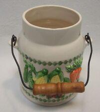 Vtg Ivory Milk Can Ceramic Jug Wood Handle Country Farmhouse Utensil Holder