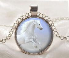 Vintage New Horse Cabochon Tibetan silver Glass Chain Pendant Necklace