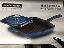 "NIB NEW Tramontina 11"" Cast Iron Grill Pan with Press - Blue"