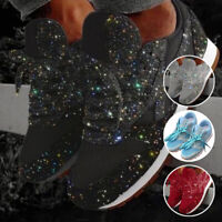 Women's Sequin Glitter Lace-Up Running Shoes Comfort Athletic Low-Top Sneakers
