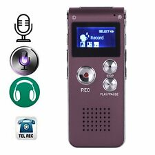 8GB Steel Purple Voice Sound Recorder Dictaphone MP3 Player 1160 Hours Recording