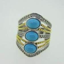 Sterling Silver Two Tone Turquoise Khr Ring Size 6
