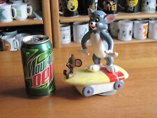 Tom & Jerry Music Box Gorham 1981 Riding Skate Board Ceramic Vintage