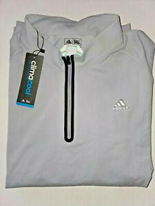 Adidas Climacool Men's Size 2XL Grey/Black Trim Quarter Zip Pullover Long Sleeve