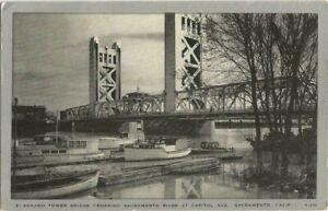 Sacramento, CA California old Postcard, Tower Bridge