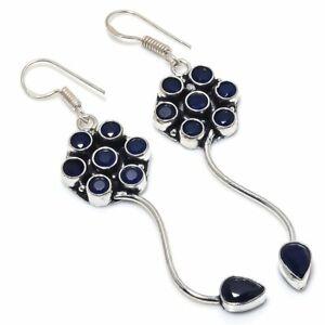 """London Blue Topaz Ethnic Handmade 925 Sterling Silver Jewelry Earring 2.36 """""""