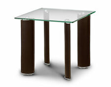 Boston Lamp End Table Glass with Brown PU Leather Legs