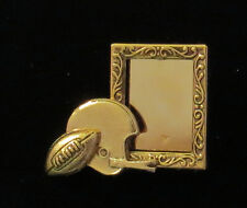 Football Photo Frame Pin 24 Karat Gold Plate Personalize with your Special Photo