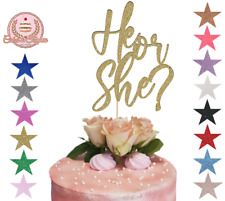 He or She Party Glitter Cake Topper Baby Shower Cake Decoration