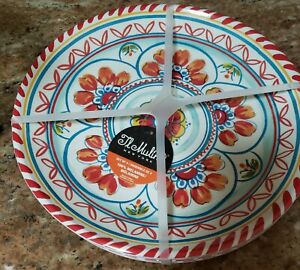 "IL MULINO Set of 4 SPANISH TILE Melamine 10.5"" DINNER PLATES Round BLUE NEW"