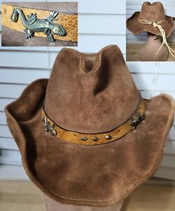 NWT Stetson Rodeo Dr Collection Sz M Brown Leather Iguanas Lizards Hat