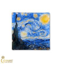 Square Glass Plate Art Print by Vincent Van Gogh 'STARRY NIGHT'13x13cm