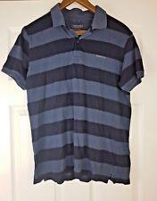 Van Heusen Ceremony Men's Black Striped Stretchy Polo Shirt Top Size L