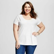 968b967a0af Ava   Viv by Target T-shirt Women s Size 3x White Scoop Neck Short Sleeve