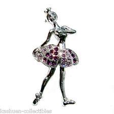 w Swarovski Crystal Purple BALLERINA BALLET DANCER Girl Pin Brooch Xmas Gift New