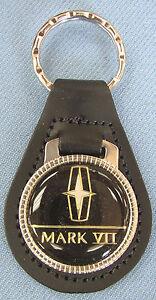 Black Lincoln MARK VII #3109 Black Leather Chrome Key Ring 1990 1991 1992