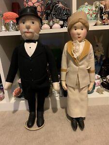"Set of 2 Stieff Knopf Im Ohr dolls man & woman / tallest 8.5"" excellent quality"