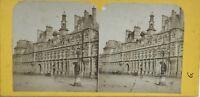 Hotel De Ville De Paris Façade Fotografia Stereo Vintage Albumina