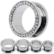 """Pair-Crystal Clear Gems Steel Screw On Ear Tunnels 25mm/1"""" Gauge Body Jewelry"""