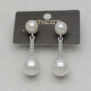 chicos women jewelry faux pearl cut crystal rhinestone post pierced drop earring