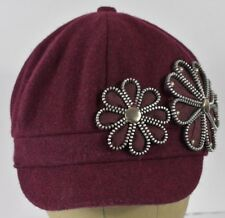 Purple Silver Flower Design Girls Gatsby News Boy News Boy Cabby Hat Cap Fitted