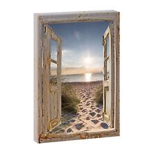 Bild auf Leinwand Fensterblick Wandbild Foto Poster Strand XXL 120 cm*80 cm  738