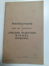 Belliss & Morcom stationary diesel oil engine Instruction owners manual