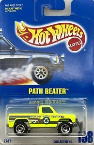 1991 Hot Wheels Neon Yellow Path Beater Collector Card # 198
