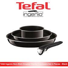 Tefal Ingenio Enamel Non-Stick Cookware Frying Pan Saucepan Set 4 PCS Black