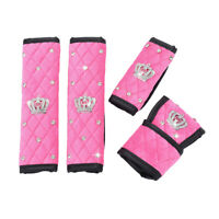 Bling Crown Pink Car Seat Belt & Shift Knob & Handbrake Sleeve Cover Protector