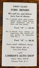 1950s First Class Ford A Repairs Lohman's Auto Shop Takoma Park Washington DC